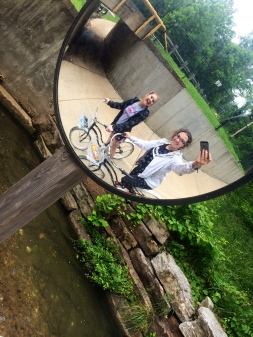 Bike riding with Lexie around Bentonville Square, AR